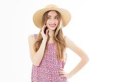 Härlig blond kvinna i Hat flicka för modell för sommarmodeskönhet, semester, kopieringsutrymme arkivbilder