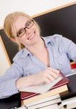 Härlig blond kvinnahögskolainstruktör Teacher Royaltyfri Fotografi