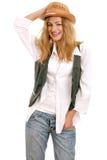 härlig blond lycklig hattmodell royaltyfri bild