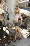 härlig blond modell Arkivbilder