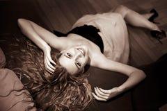 Härlig blond modellflicka Royaltyfria Foton
