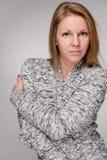 Härlig blond vintermodekvinna arkivbilder