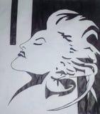 Härlig blyertspennateckning för flicka 3D Arkivbild