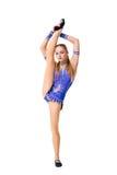 Härlig body för dansare för tonårs- flicka för gymnastidrottsman nen som bärande blå utarbetar, dansa som gör övning isolerat Royaltyfri Foto