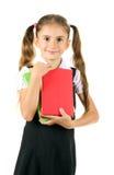 härlig bokflicka little skolalikformig Arkivfoto