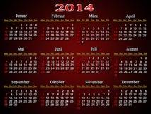 Härlig bordeauxkalender för 2014 år i tysk Arkivbild