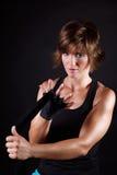 Härlig boxarekvinna Arkivfoto