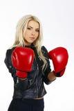 härlig boxningkvinna Royaltyfri Foto