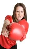 härlig boxningkvinna royaltyfria bilder