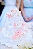 Härlig bröllopstårta för brud och brudgum inomhus Royaltyfri Bild