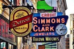 Härlig Broadway gata i Detroit Arkivbild