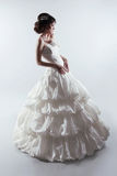 Härlig brud i ursnygg bröllopsklänning fashion ladyen studio Arkivfoton