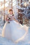 Härlig brud i vinterskog royaltyfria foton