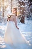Härlig brud i vinterskog arkivfoto