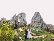 Härlig brud med brudgummen som kysser på bakgrund av steniga Carpathian berg Tustan fästning Royaltyfri Bild