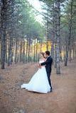 Bruden och brudgummen ordnar till för bröllop Arkivfoto