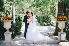 Härlig brud och brudgum som poserar i en gård av en slott Royaltyfri Bild