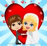 Härlig brudgum med fästmön på en bakgrund en röd hjärta royaltyfri illustrationer