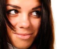 härlig brun synad kvinna Arkivfoto