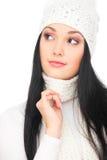 härlig brunett för bakgrund över white Royaltyfria Foton