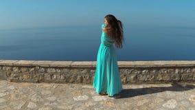 Härlig brunett som ler flickan med sunt långt hår, i att blåsa klänningen Lycklig ung kvinna som tycker om naturen och har lager videofilmer