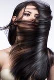 Härlig brunettflicka i flyttning med ett perfekt slätt hår och klassiskt smink Härlig le flicka arkivbilder