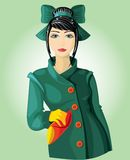 härlig brunettgreenlady stock illustrationer