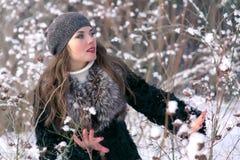 Härlig brunettkvinna i ett basker- och pälslag som poserar och ler på bakgrunden av den snöig skogen royaltyfri fotografi