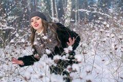 Härlig brunettkvinna i ett basker- och pälslag som poserar och ler på bakgrunden av den snöig skogen Royaltyfri Foto