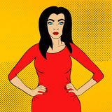 Härlig brunettkvinna i stil för popkonst vektor illustrationer