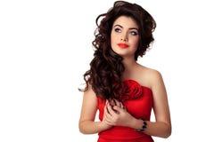 Härlig brunettkvinna makeup frisyr begreppet av mode royaltyfria bilder