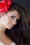 härlig brunettståendekvinna Royaltyfri Foto