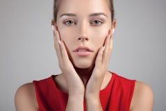 Härlig brunnsortkvinna Ren skönhetmodell Arkivbild