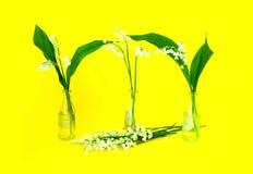 Härlig bukett av blommaliljekonvaljen i små glasflaskor på ljus gul bakgrund Lycklig mors dag! kortbegrepp arkivbild