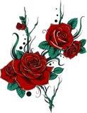 Härlig bukett med röda rosor och sidor Blom- ordning planlägg hälsningkortet och inbjudan av bröllopet vektor illustrationer