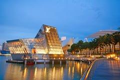 Härlig byggnad på marinafjärden, singapore fotografering för bildbyråer