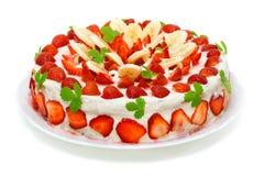 härlig cake dekorerad frukt Royaltyfri Bild