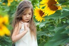 Härlig caucasian liten flicka i ett fält med solrosor Arkivfoto