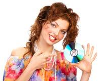 härlig cd kvinna royaltyfria bilder