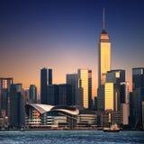härlig cityscape Hong Kong Arkivfoto