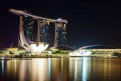 Härlig cityscape på Marina Bay Sands arkivfoto
