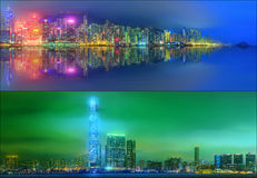 Härlig cityscapeuppsättning och collage av det finansiella området, Hong Kong Arkivbilder