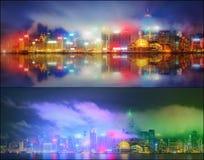 Härlig cityscapeuppsättning och collage av det finansiella området, Hong Kong Royaltyfri Fotografi
