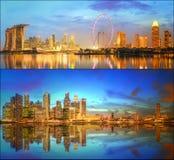 Härlig cityscapeuppsättning och collage av Marina Bay Fotografering för Bildbyråer