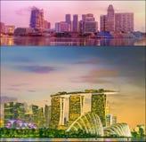 Härlig cityscapeuppsättning och collage av Marina Bay Royaltyfri Fotografi