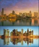 Härlig cityscapeuppsättning och collage av Marina Bay Arkivbilder
