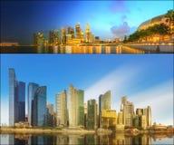 Härlig cityscapeuppsättning och collage av Marina Bay Arkivfoton