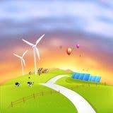 härlig clean energi vektor illustrationer