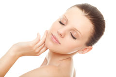 härlig clean sund hudkvinna Fotografering för Bildbyråer