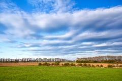 Härlig cloudscape över gröna ängar arkivfoto